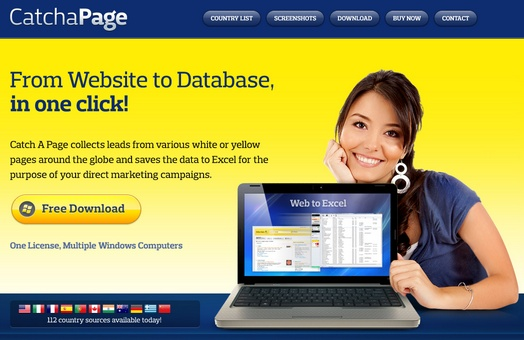 CatchaPage: Oltre 100 paginegialle pronti per l'estrazione automatica