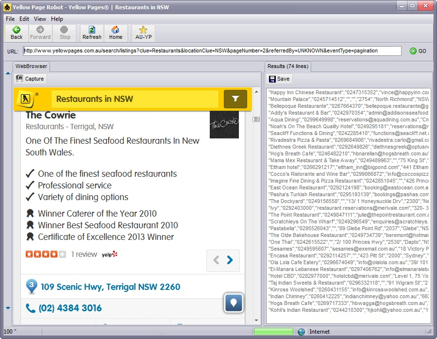 Extract yellowpages.com.au and save to Excel